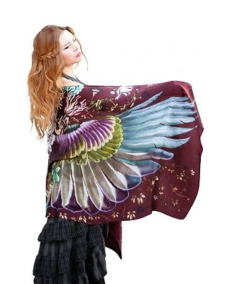 Crimson Wings Flowers Scarf, 30% Silk 70% Cashmere Hand Painted Burgundy Shawl