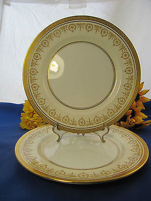 "AYNSLEY & Sons GOLD DOWERY Dinner Plates 10 1/2"" Set Of 2 England EXC!"
