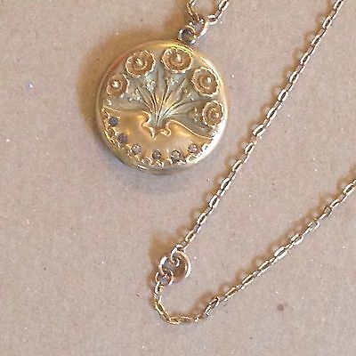 Vintage S B Co. Early 1900's Art Nouveau Locket Necklace With Chain