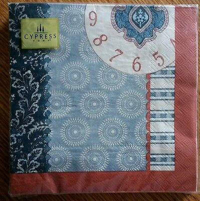 20 ct 3 ply Paper Party Lunch Napkins ~ Blues Rust Clock Face Numbers