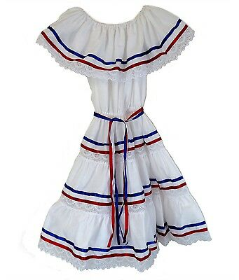 Made in Mexico Ethnic Ribbons Dress for Girls Cuban Dress, Puerto Rican Dress