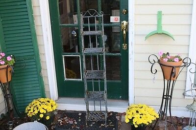 Iron Plant Stand Rack 5 Shelves Rusty Iron Shabby Chic Architectural Shelf