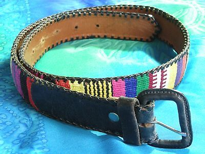 Boho Colorful Belt Woven Fabric and Leather Size 32 Made in Guatemala