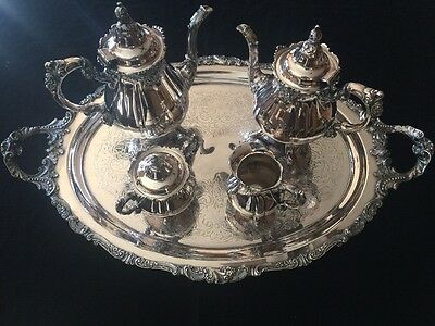Wallace BAROQUE 5 piece SILVER TEA SET / SERVICE with TRAY