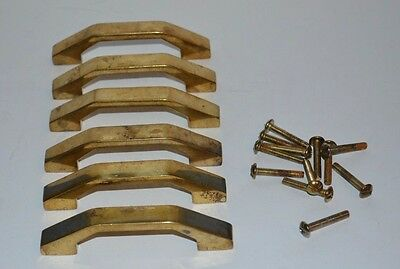 6 Pc VTG BRASS CABINET DRAWER CUPBOARD FURNITURE DOOR PULLS
