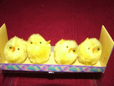 "4 Chenille Chicks Easter Yellow 1.75"" Tall New In Package"