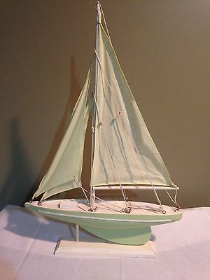 """Wooden Teal Model Sailboat Decoration 19"""" Nautical Home Boat"""