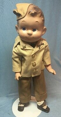 Rare 1930 1940s Ideal Composition WWII Soldier Doll 13in Compo