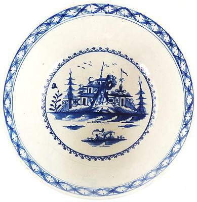 C1790 Antique Liverpool Pearlware Blue & White Pottery Bowl Pagoda Trees