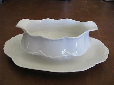 Pope Gosser White Gravy Boat with Attached Under Plate