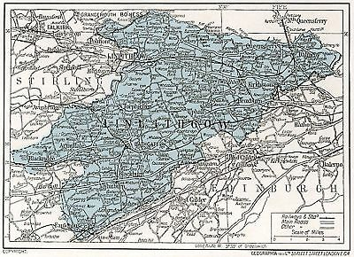 1923 map of Scotland: old Linlithgow ready-mounted antique print SUPERB