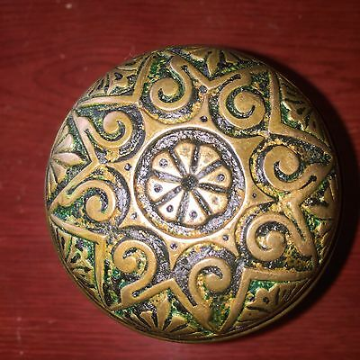 Antique Fancy Victorian Eastlake Symmetry Cast Brass Doorknob
