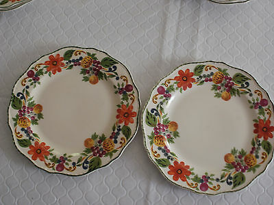 "Set Of 2 Steubenville Ivory Harvest 9"" Luncheon Or Dinner Plates"