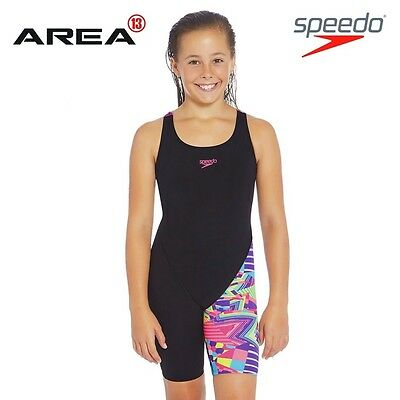 Speedo Girls Psycho Tribal Leaderback Legsuit, Girls Full Piece Swimwear