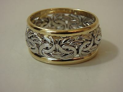 14K Two Tone White & Yellow Gold Byzantine Wedding Band Ring New 3/4 Wide Sz 8