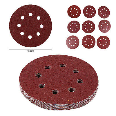 "10Pcs 125mm 5"" Hook Loop Sanding Discs 8 Hole 60#-1000# Grit Orbital Sander Pad"