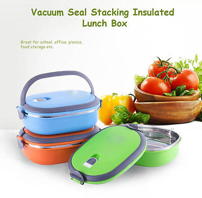 Vacuum Seal Stacking Insulated Lunch Box Stainless Steel Thermal Insulation Bent
