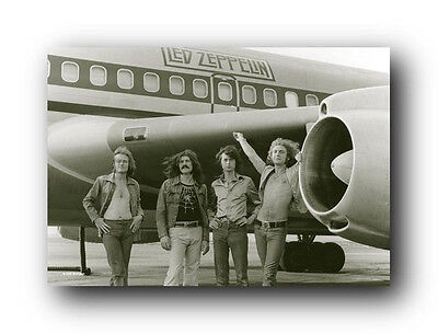 Led Zeppelin on the Tarmac with their tour jet Poster  24 x 36 Free US Shipping