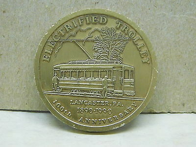 Electrified Trolley 100th Anniversary USA  RED ROSE COIN CLUB 1990 MEDALLION