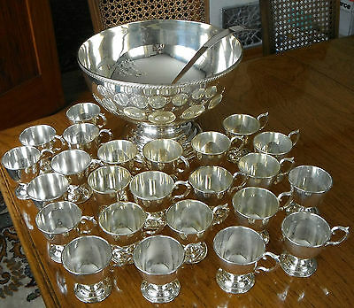 1940s/1950s NICKEL SILVER PUNCH BOWL w/ 24 cups & LADLE CLASSIC SET~ STUNNING