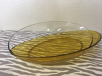 "Tupperware Deluxe Acrylic Serving Plate Gold 14"" X 9"" X 3"" New"