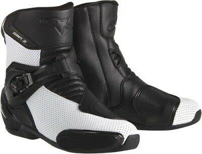 Alpinestars SMX 3 Vented Motorcycle Boots Men s Black/White Choose Size Mens 43
