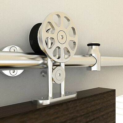 stainless steel top mount sliding barn wood door hardware spoke wheel barn wheel