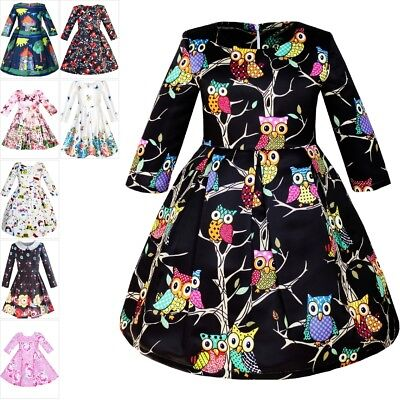 Girls Dress Fit-and-flare Owl Print Party Long Sleeve Cute Size 4-14