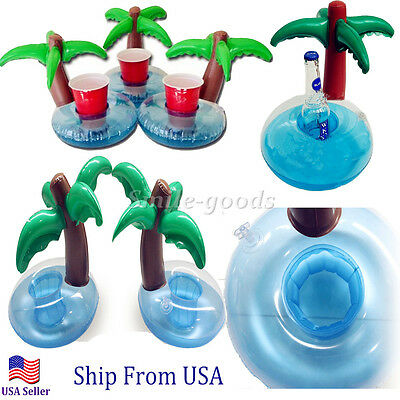 GoFloats Inflatable Palm Island Drink Holder 3 Pack, Float your drinks in style
