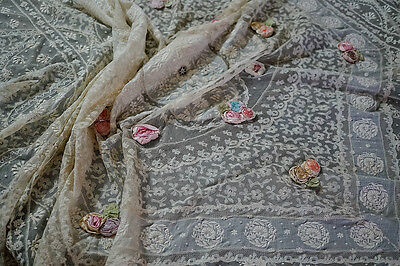 """ANTIQUE NORMANDY LACE BED SPREAD WITH SILK ROSES 104""""x134"""""""