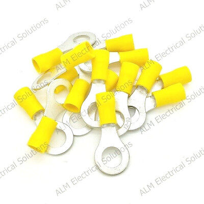 Yellow 8.4mm Ring Eyelet Terminals - Pre-Insulated Earth Connectors M8 Stud
