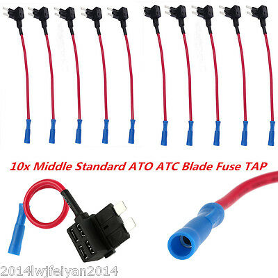 10x Add A Circuit Fuse Tap Medium Middle Standard Blade Fuse ATO ATC Adapter Car