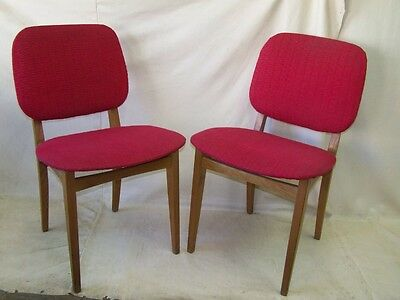 2x Old Wood Chair RED, Iconic Retro Design Vintage Kitchen chair, 1950s Year