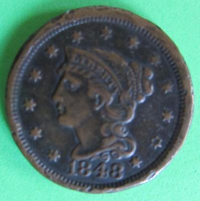 1848 Large Braided Hair Usa One Cent- Vf