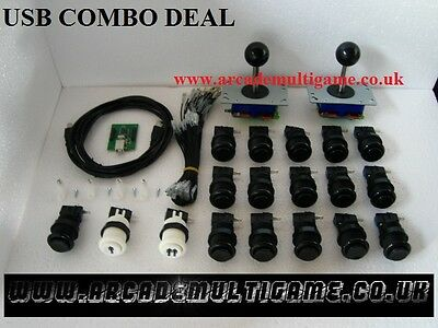 USB Arcade Joystick Controller For PC & PS3 (2 Player) 16 x  BLACK BUTTONS SET