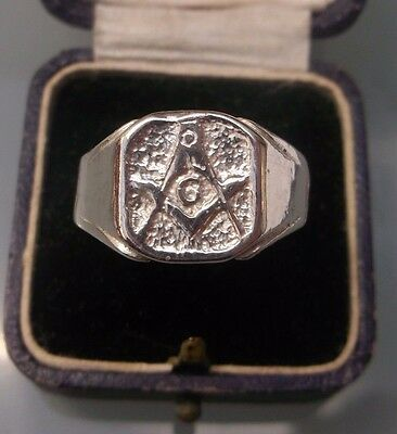 Masonic Silver Men's Ring Stamped Size T Weight 6.3g Lovely Condition