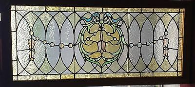 Transom stained glass Victorian  window with string of jewels