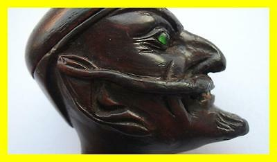 Stunning Carved Devil/lucifer Glass Eyes Wooden Lidded Pipe,chinese? C.1880
