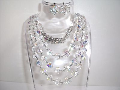 Vintage Necklace 1950s Crystal Aurora Borealis with matching Screw back earrings