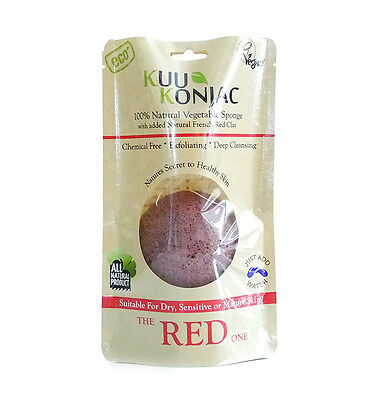 100% Natural Konjac Sponge with added FRENCH RED CLAY