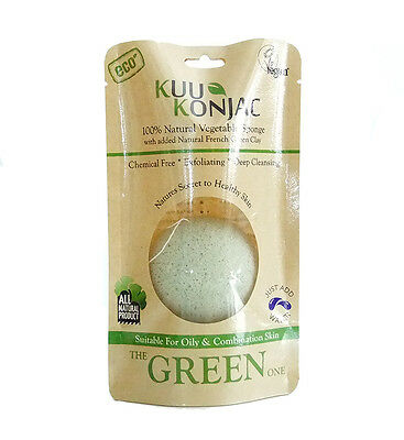 100% Natural Konjac Sponge with added FRENCH GREEN CLAY