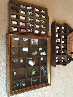 collectable bone china and Others of thimbles in display cases