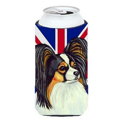 Papillon With English Union Jack British Flag Tall Boy bottle sleeve Hugger 2...