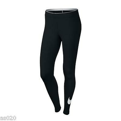NEW Womens Nike Club Logo 2 Gym Sports Workout Fitted Leggings - Black and White