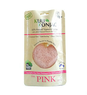 100% Natural Konjac Sponge with added PINK FRENCH CLAY