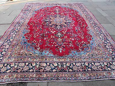 Old Hand Made Traditional Persian Oriental Wool Red Blue Large Carpet 380x288cm