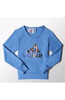 Size 11-12 Years Old - Adidas Larg Logo Text Crew Sweatshirt - Blue