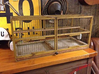 Antique 19th Century Painted Wood And Wire Double Bird Cage