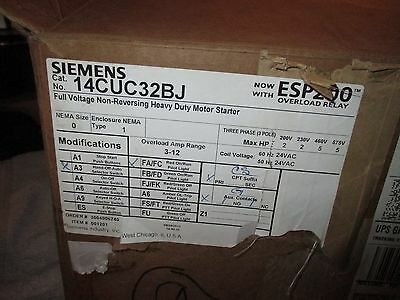Siemens 14CUC32BJ Heavy Duty Motor Starter, Solid State Overload, Auto/Manual R