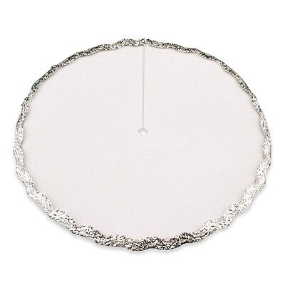 Dollhouse Miniature 1:12 Scale Christmas Tree Skirt, White/Silver #DHS4695